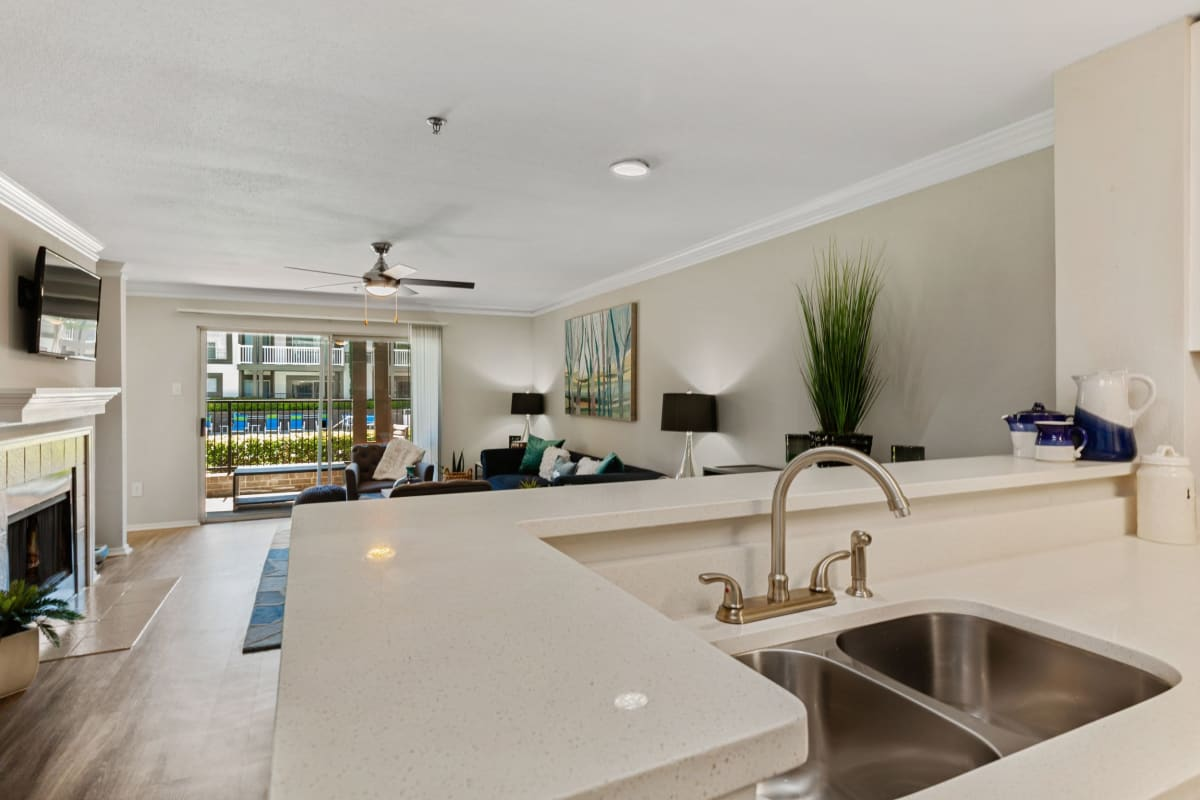 So much counter space in the kitchen on the nice white countertops at 45Eighty Dunwoody Apartment Homes in Dunwoody, Georgia