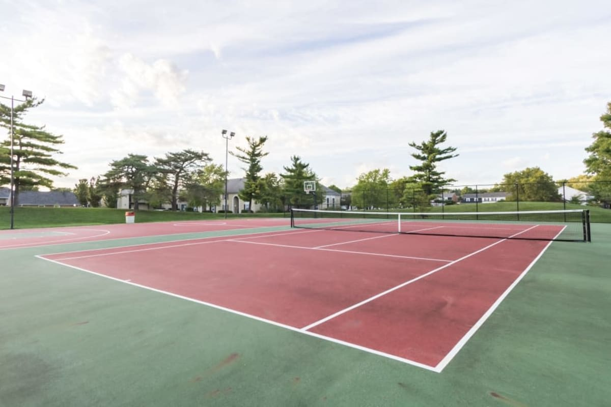 Tennis courts next to the basketball courts at Governours Square in Columbus, Ohio