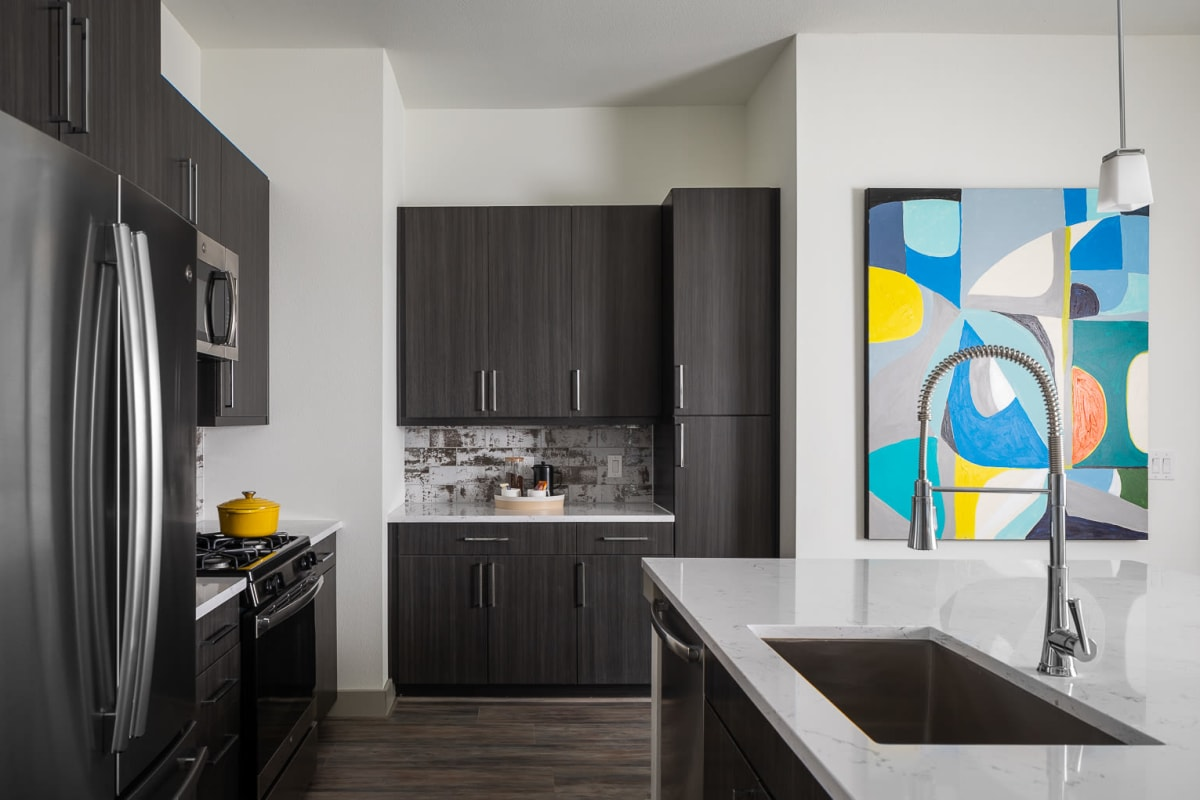 Mdern kitchen with stainless-steel appliances at Bellrock Summer Street in Houston, Texas