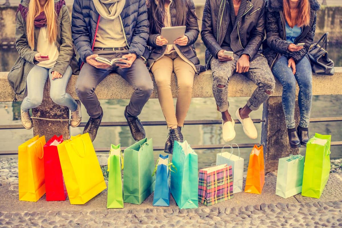 Residents out shopping near Enchanted Springs Apartments in Colorado Springs, Colorado