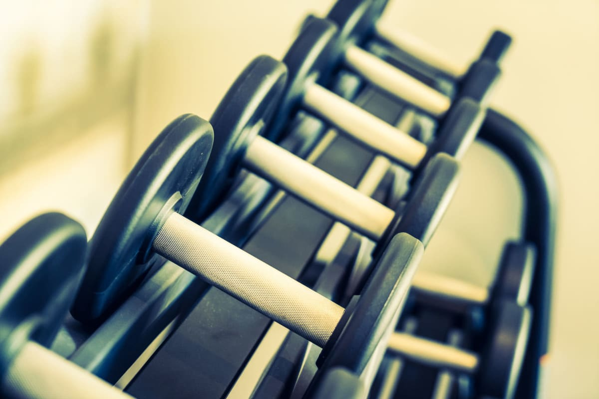 Fitness center dumbells at Enchanted Springs Apartments in Colorado Springs, Colorado