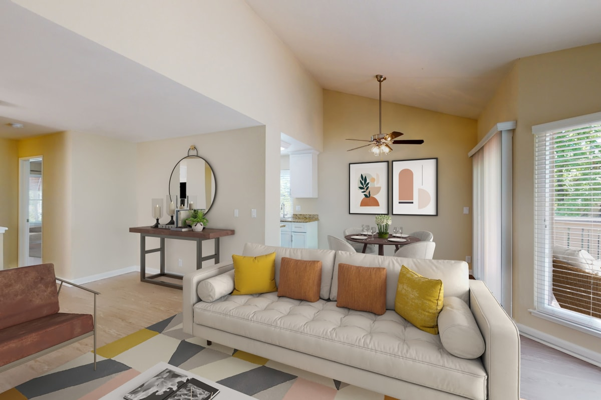 Two-bedroom apartment's living area at Valley Plaza Villages in Pleasanton, California