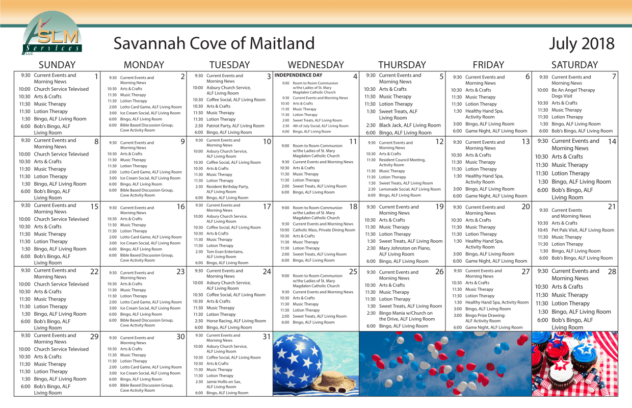 View our monthly calendar of events at Savannah Cove of Maitland