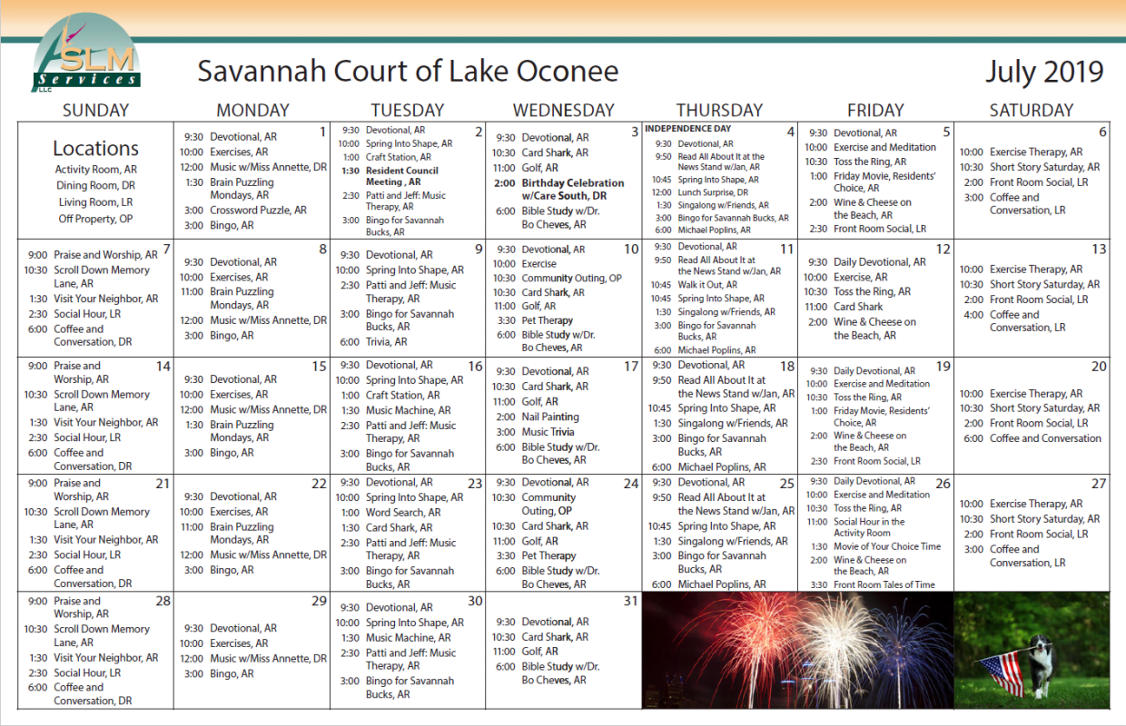 View our monthly calendar of events at Savannah Court of Lake Oconee