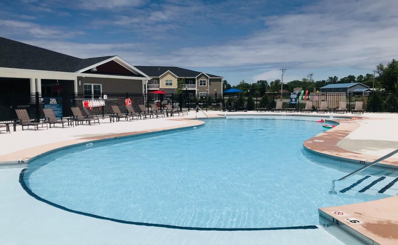 Pool area at Bonterra Apartments in Fort Wayne, Indiana