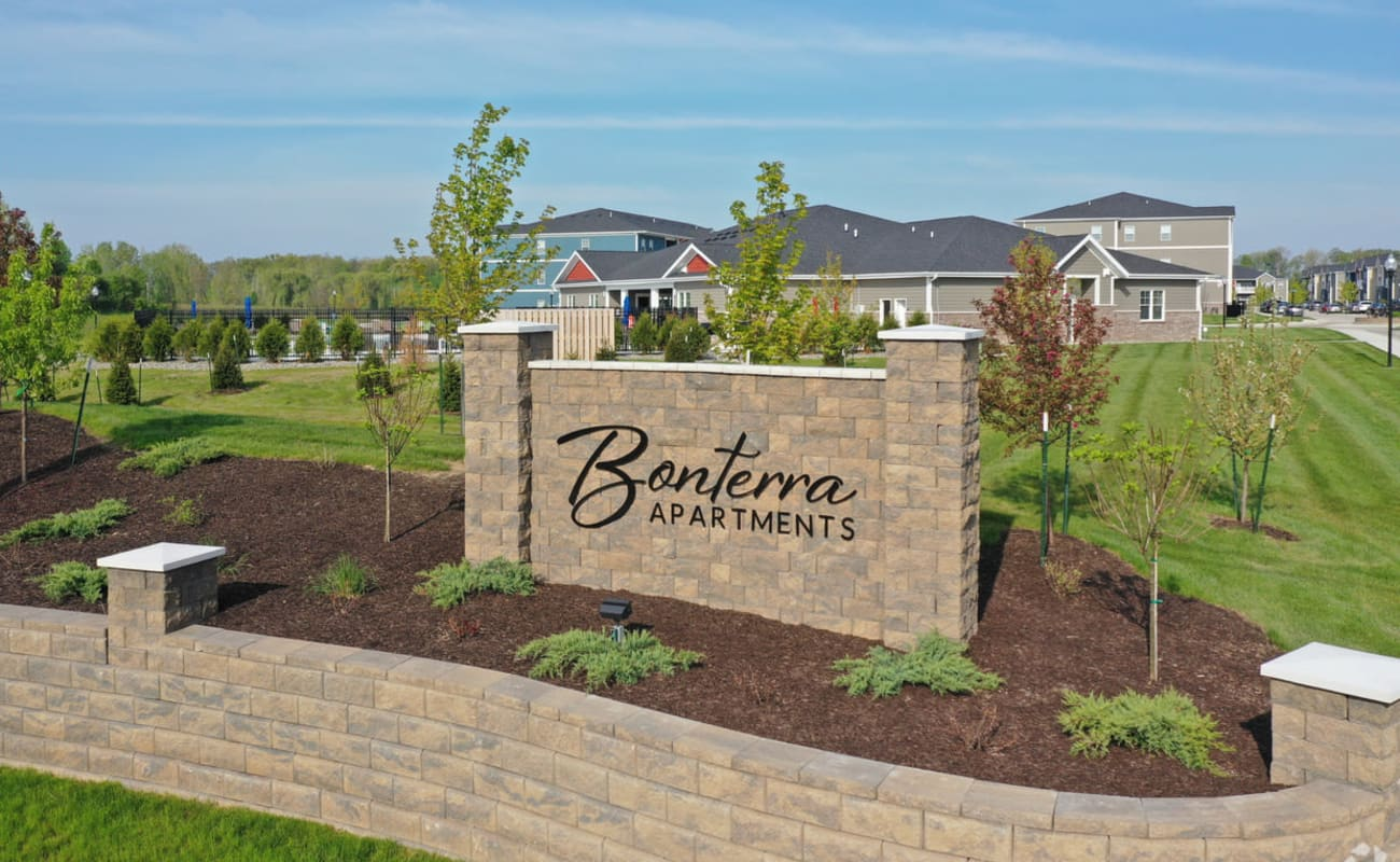 Monument sign at the entrance to our community at Bonterra Apartments in Fort Wayne, Indiana