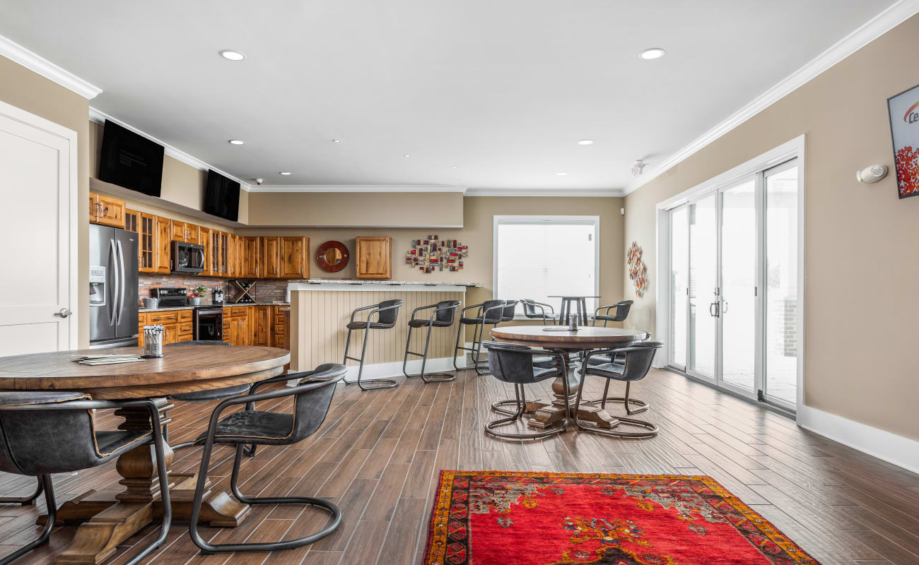 Resident clubhouse with a demonstration kitchen at Bonterra Apartments in Fort Wayne, Indiana