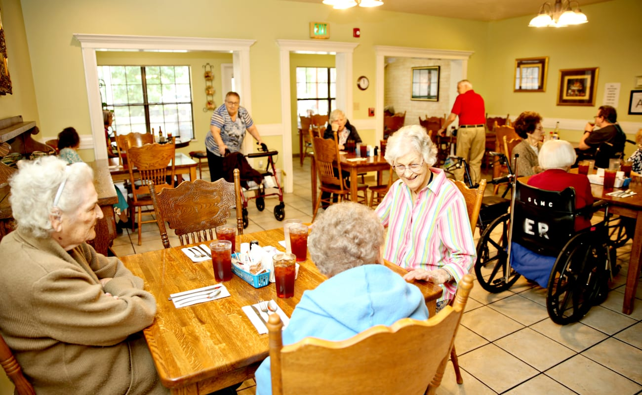 Residents enjoying a meal together at Providence Assisted Living in Grenada, Mississippi.