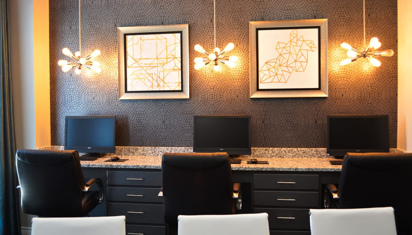 Luxury business center at The Abbey at Dominion Crossing in San Antonio, TX