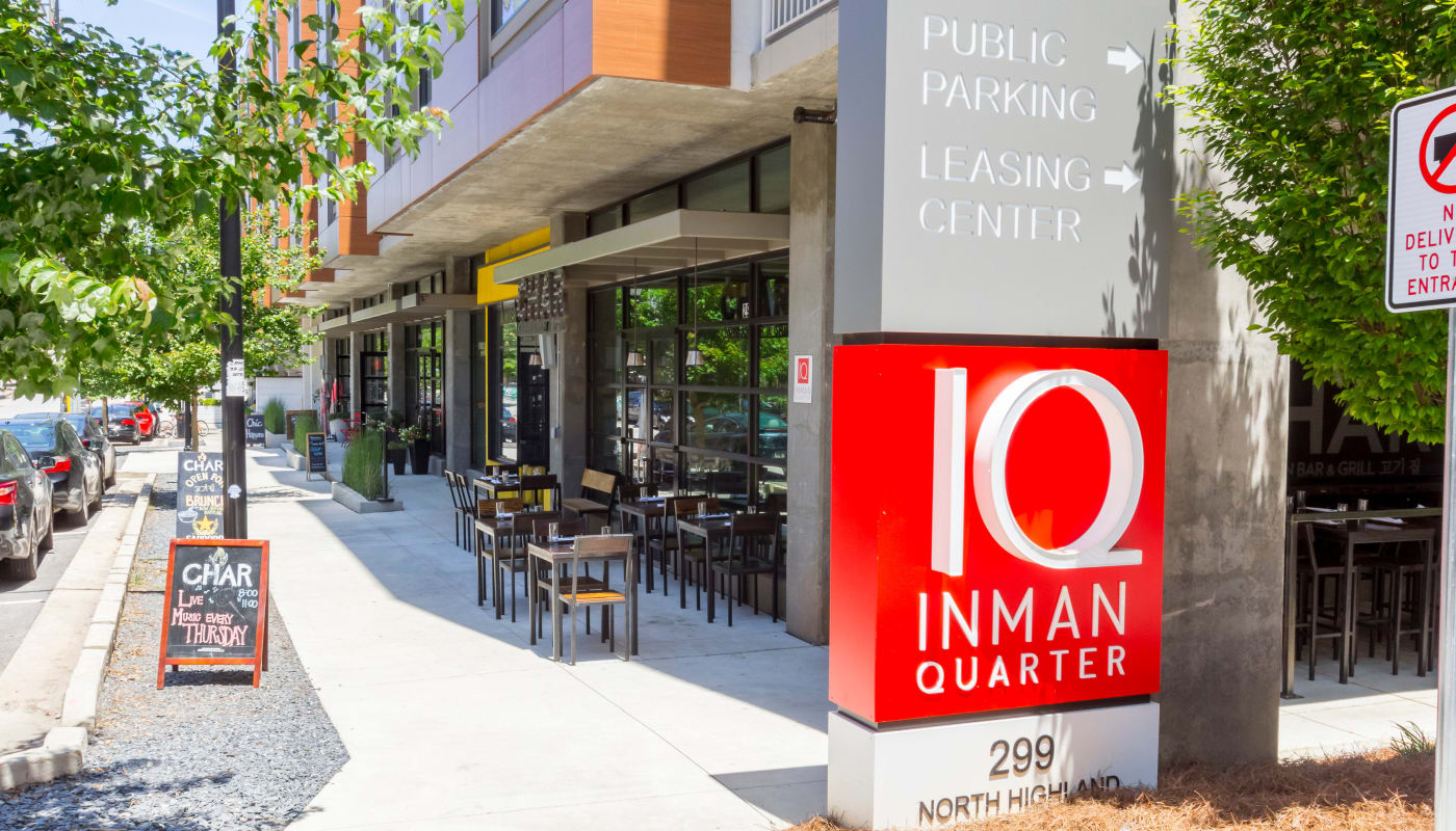 Exterior view of Inman Quarter at street level in Atlanta, Georgia