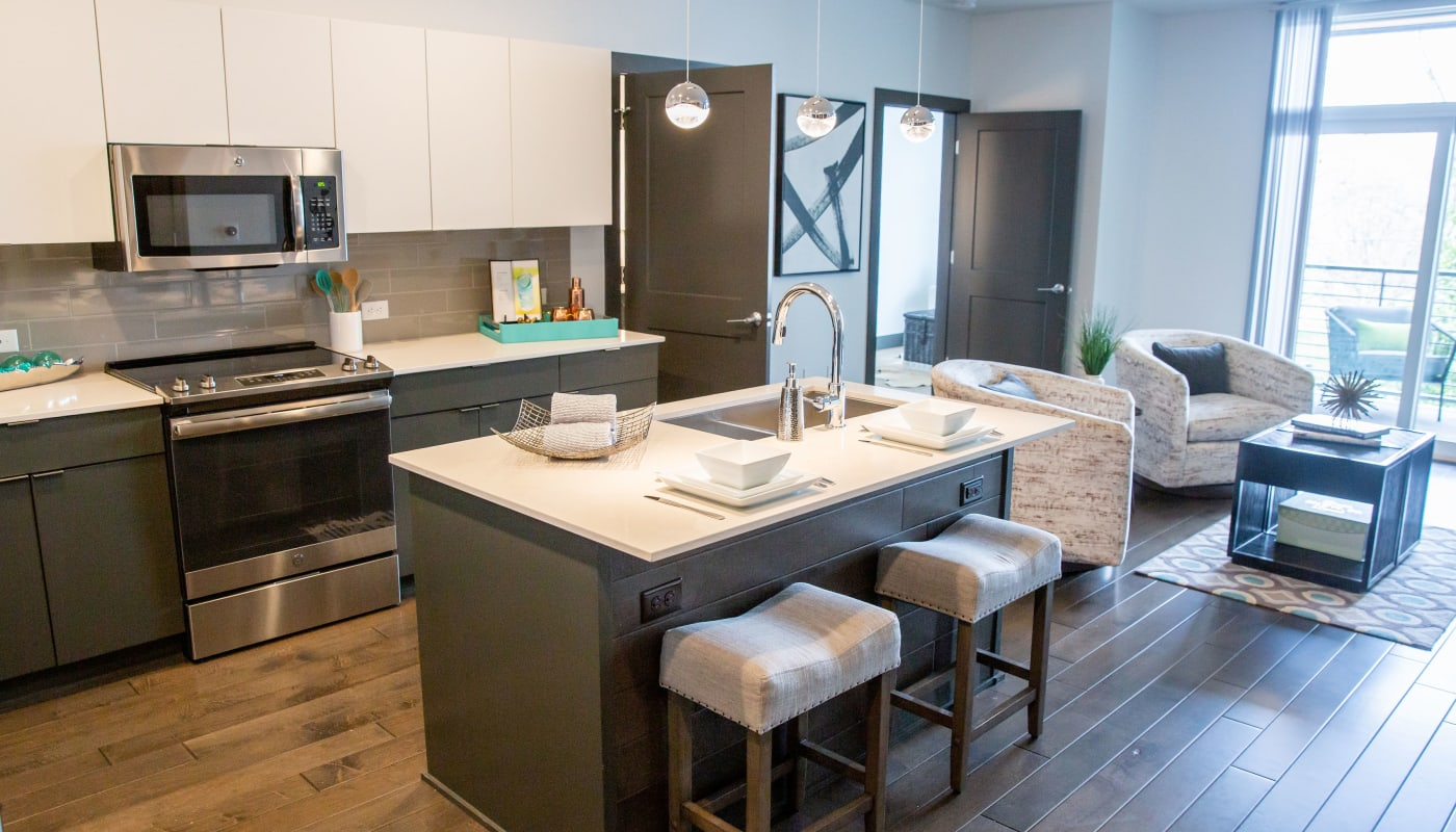 Kitchen island at Village 21 in Nashville, Tennessee