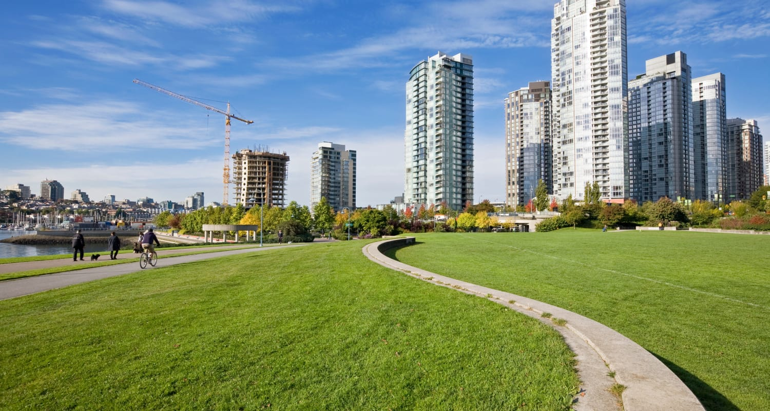 Beautiful landscapes at Bayview at Coal Harbour in Vancouver, British Columbia
