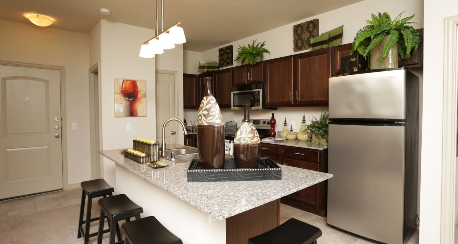 Modern kitchen with stainless-steel appliances and dark cabinetry in model home at Evolv in Mansfield, Texas