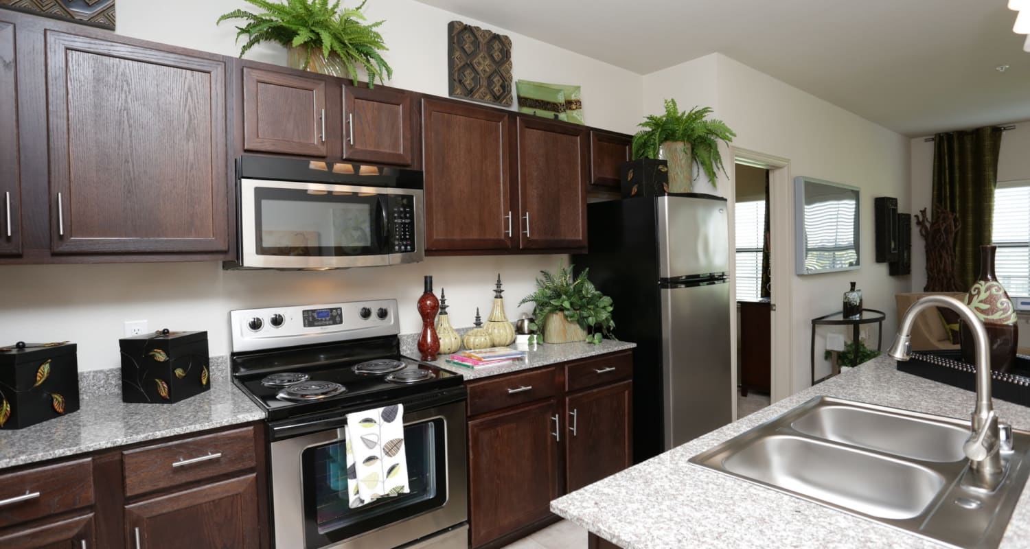Granite countertops and more in modern kitchen at Evolv in Mansfield, Texas