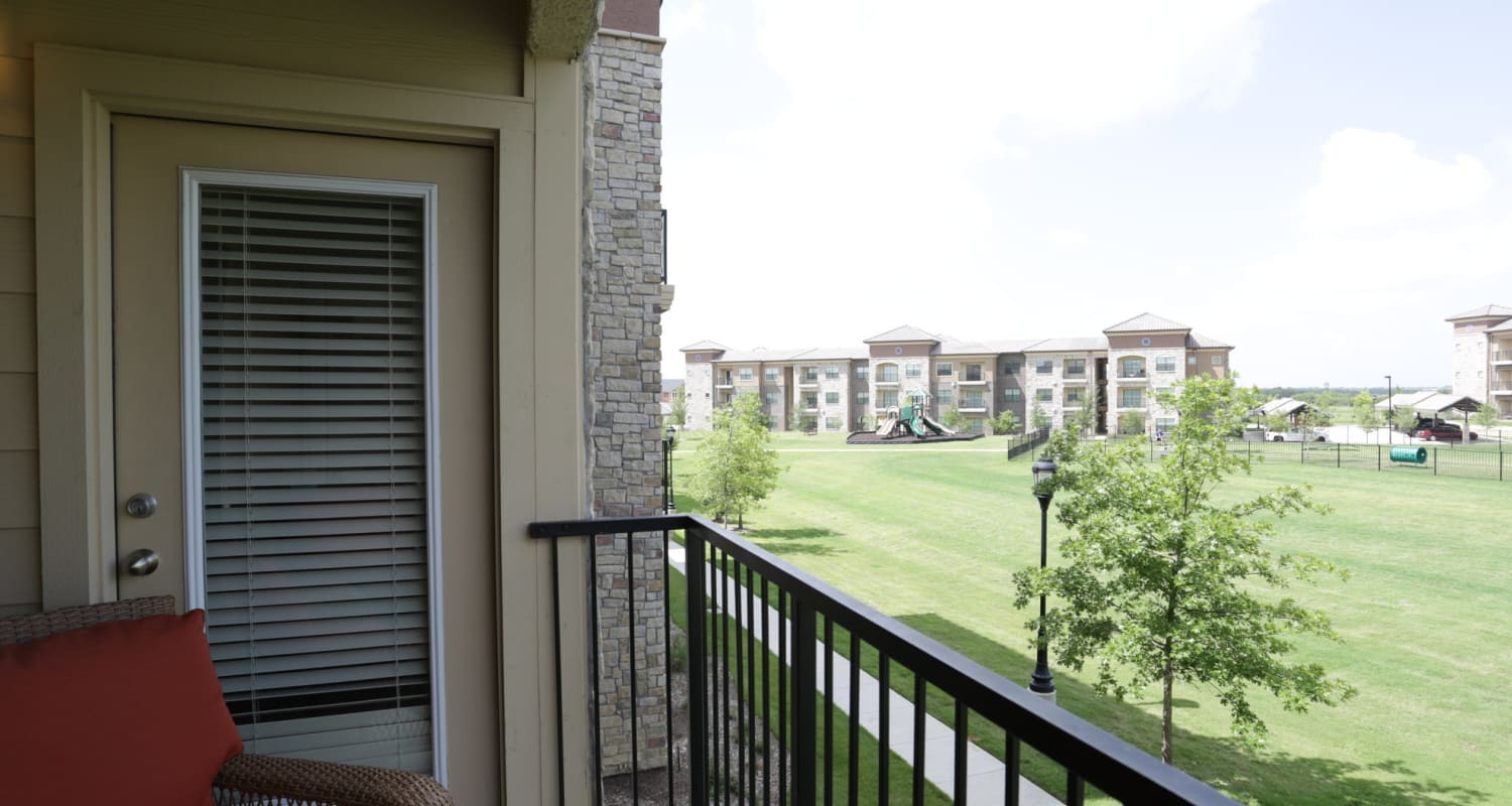 Private balcony at Evolv in Mansfield, Texas