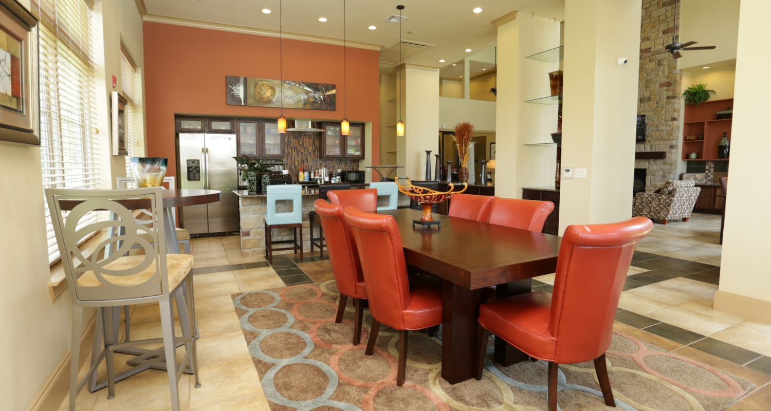 Beautifully decorated resident clubhouse at Evolv in Mansfield, Texas