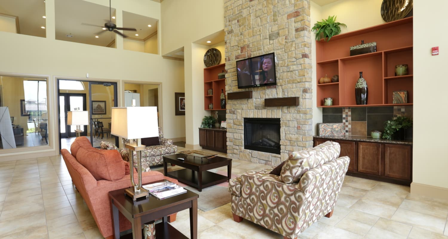 Interior view of the lavish clubhouse at Evolv in Mansfield, Texas