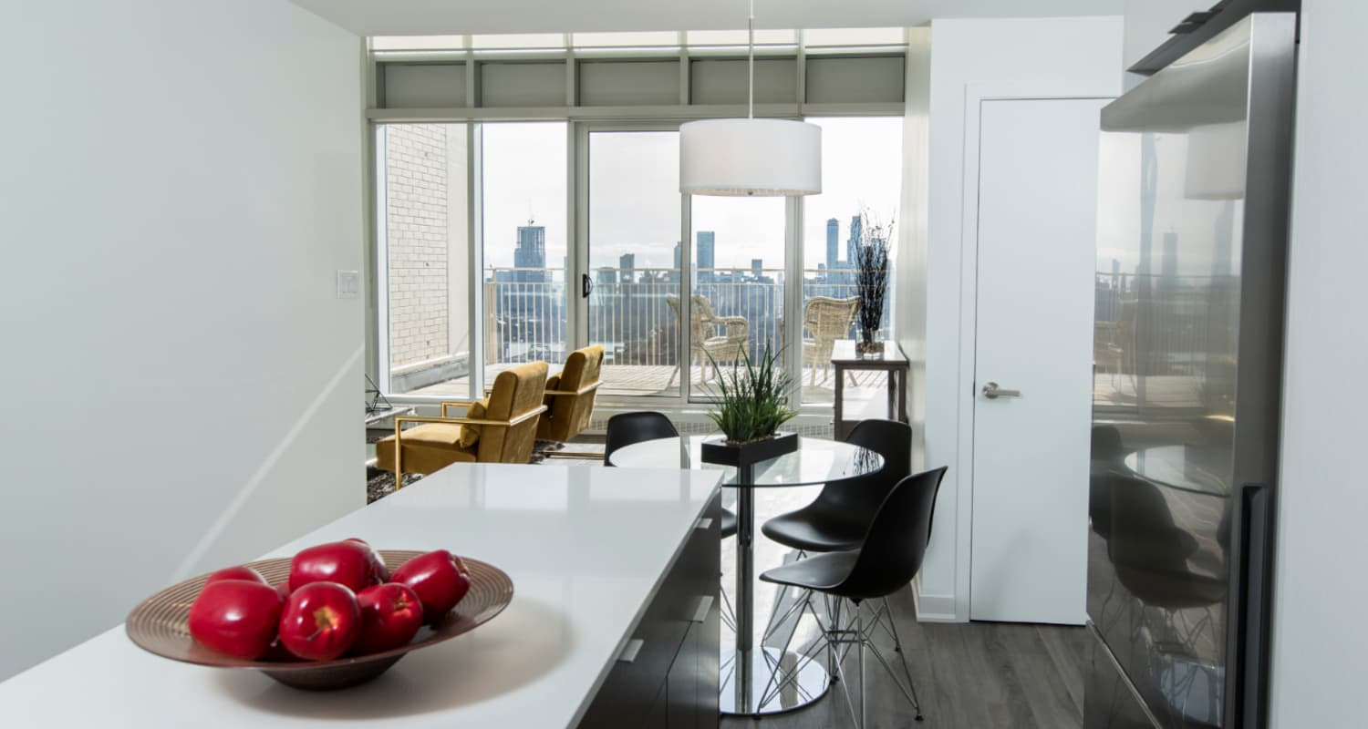 Ceiling to floor windows with a city view are offered at the Bretton Place penthouses
