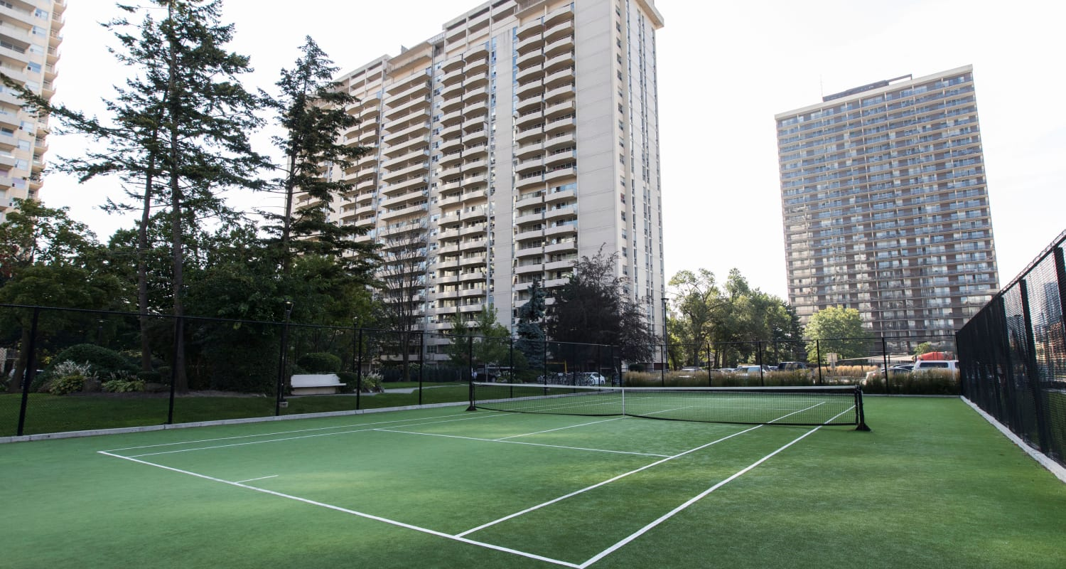 Tennis court at Bretton Place in Toronto Ontario