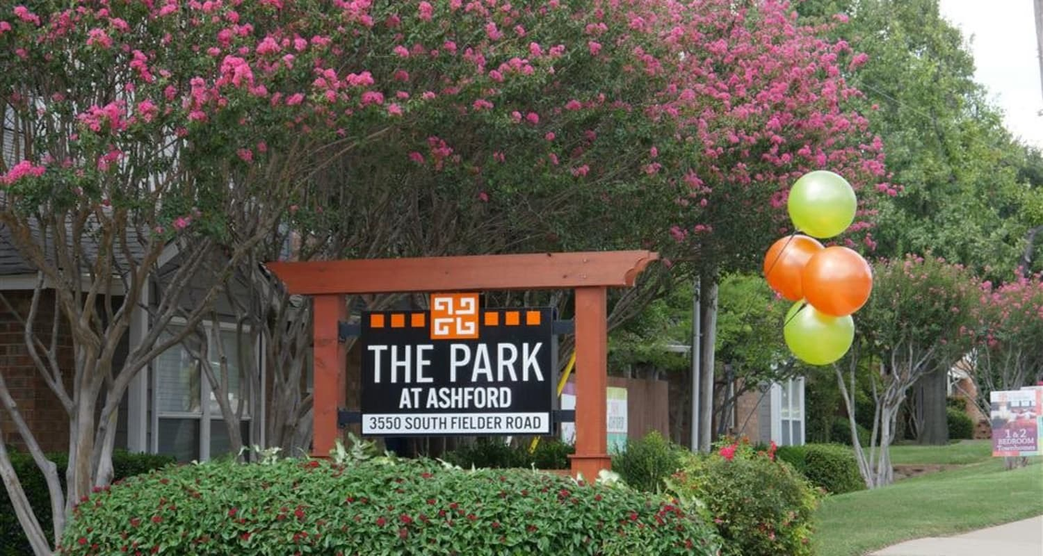 Entry sign at The Park at Ashford in Arlington, Texas