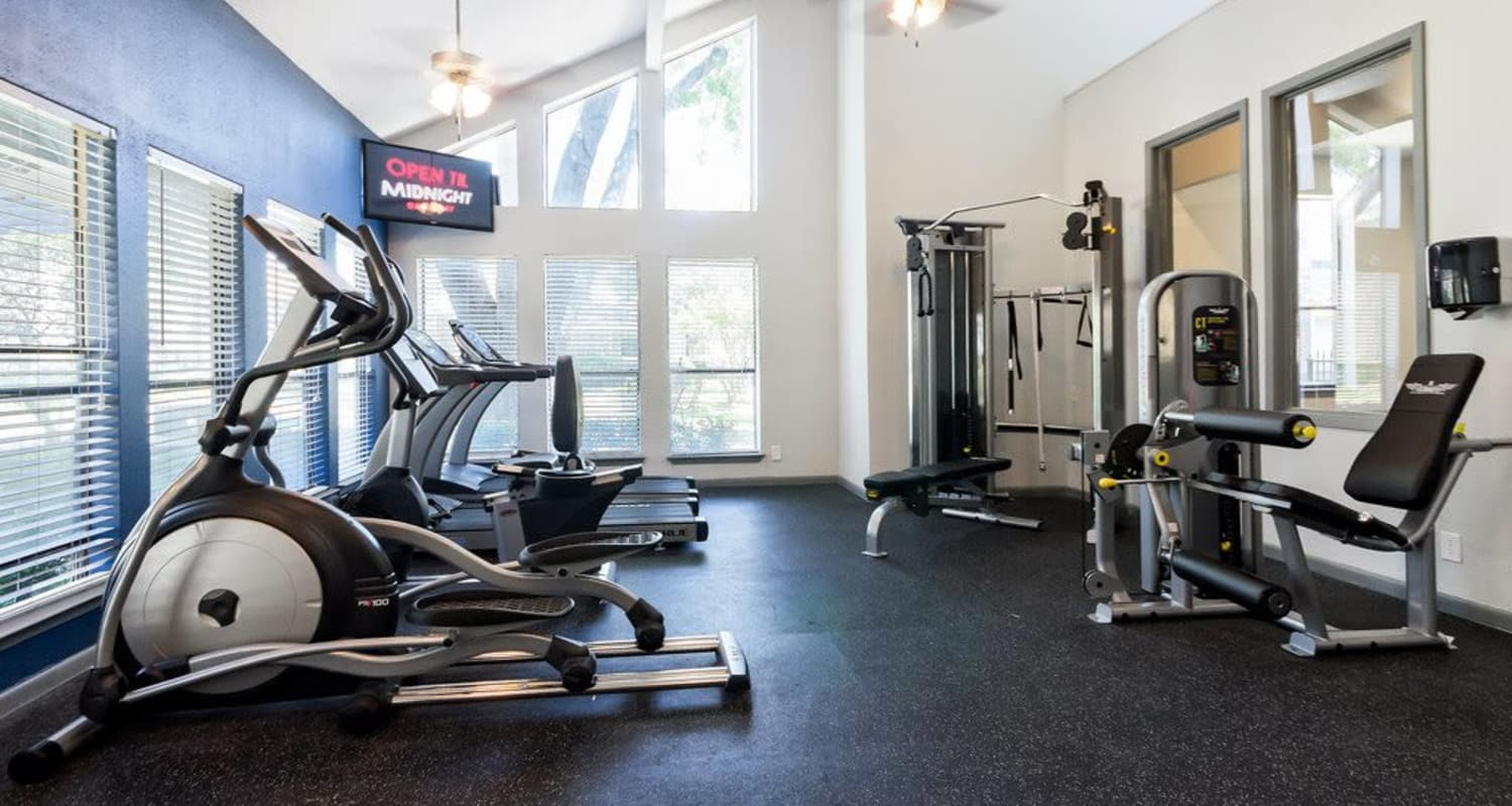 Stay healthy in the Ridgeview Place fitness center in Irving, Texas