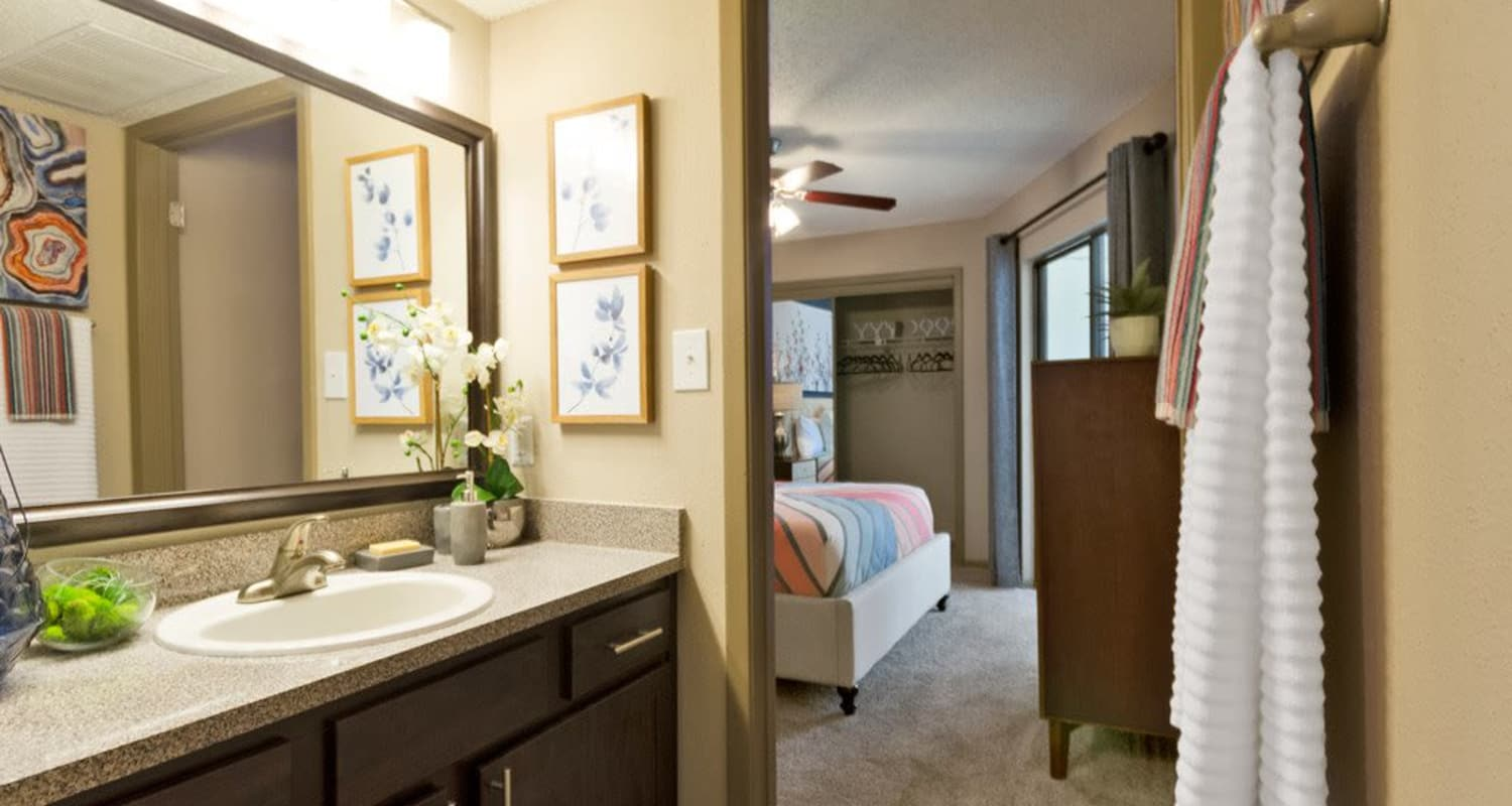 Ample bathroom at Ridgeview Place in Irving, Texas