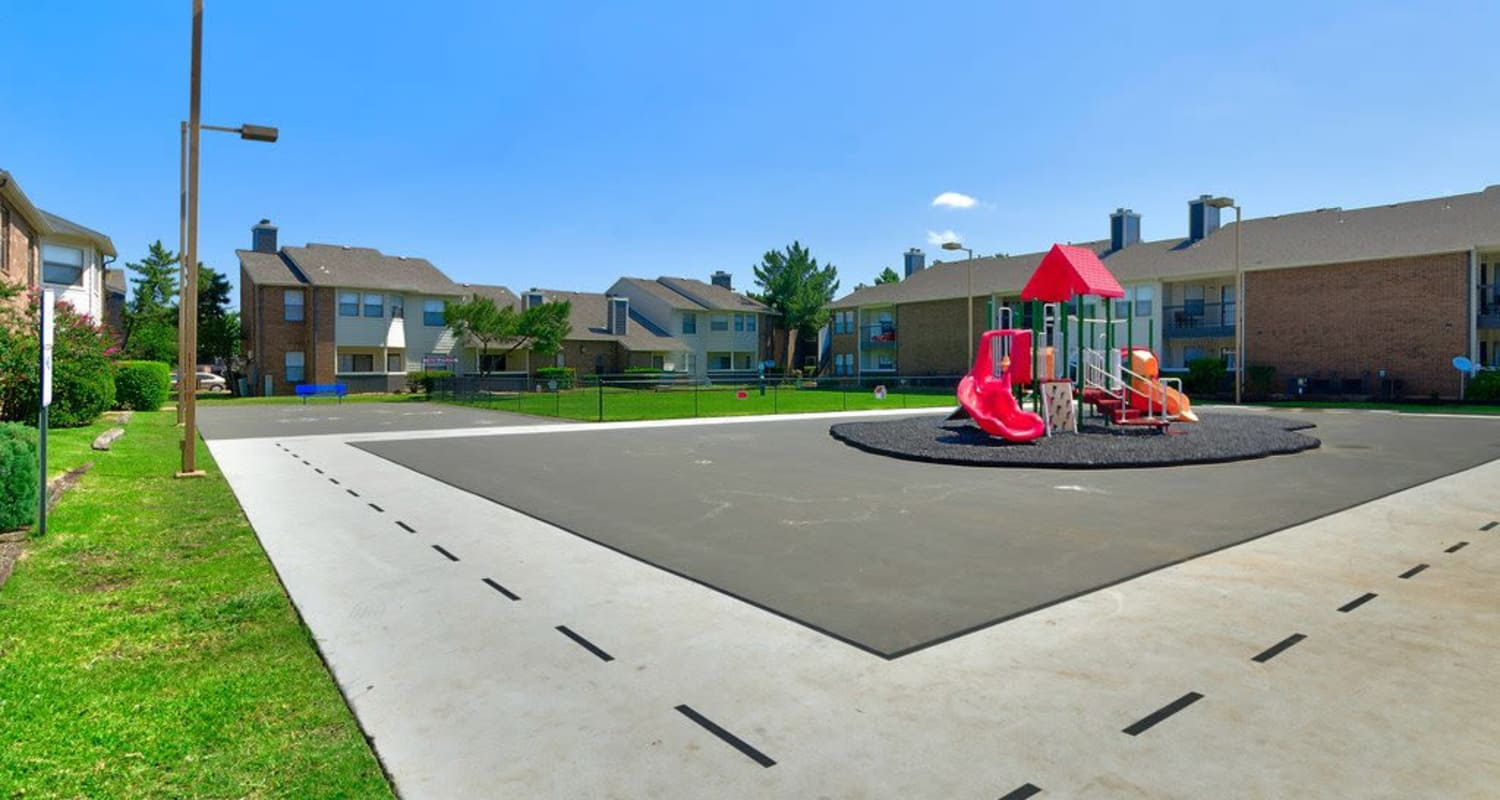 Playground area at Ridgeview Place in Irving, Texas