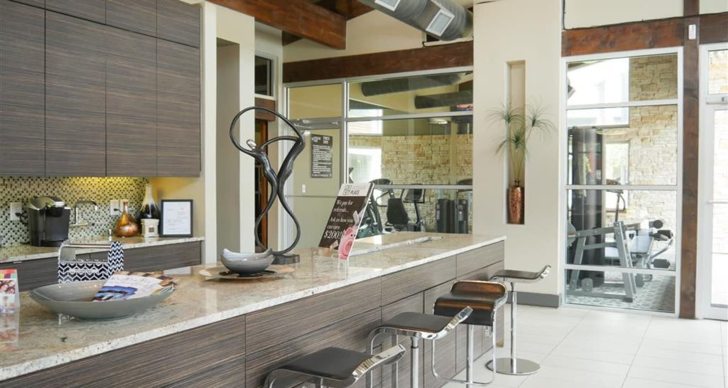 Clubhouse's kitchen at Veridian Place in Dallas, Texas