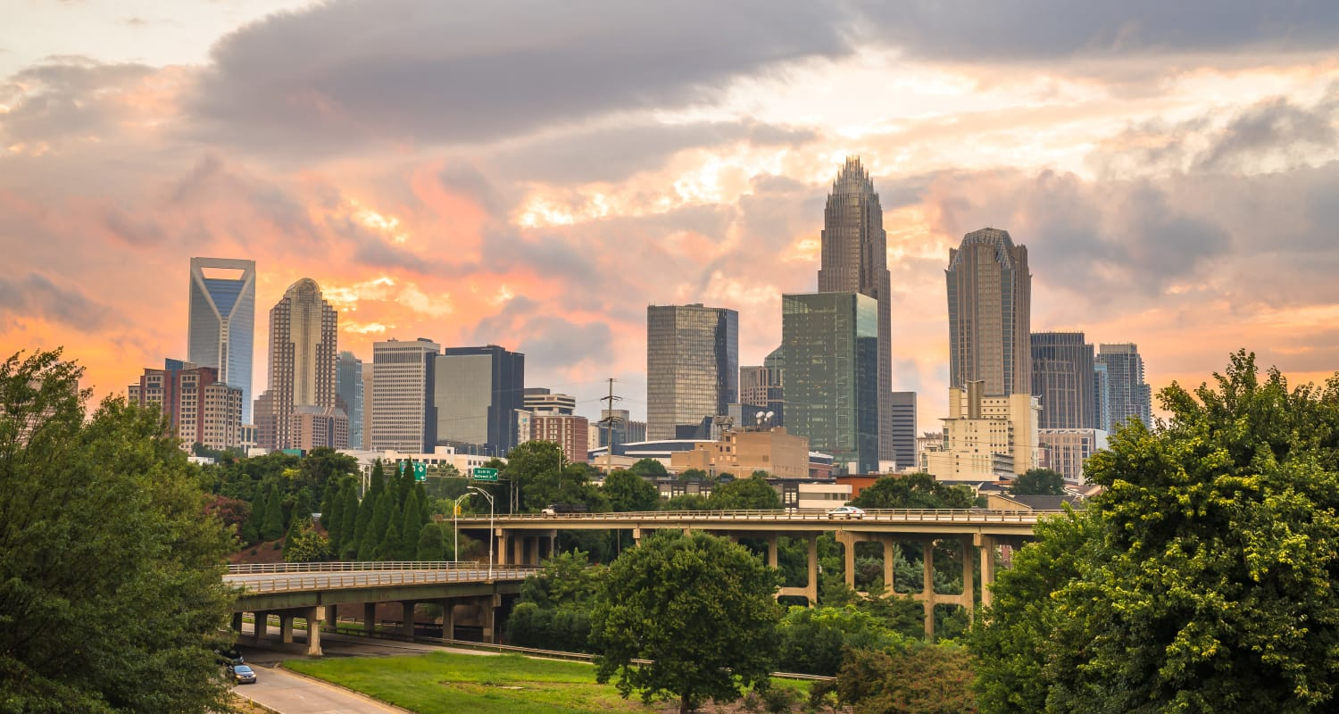 View of downtown near Highlands at Alexander Pointe in Charlotte, North Carolina
