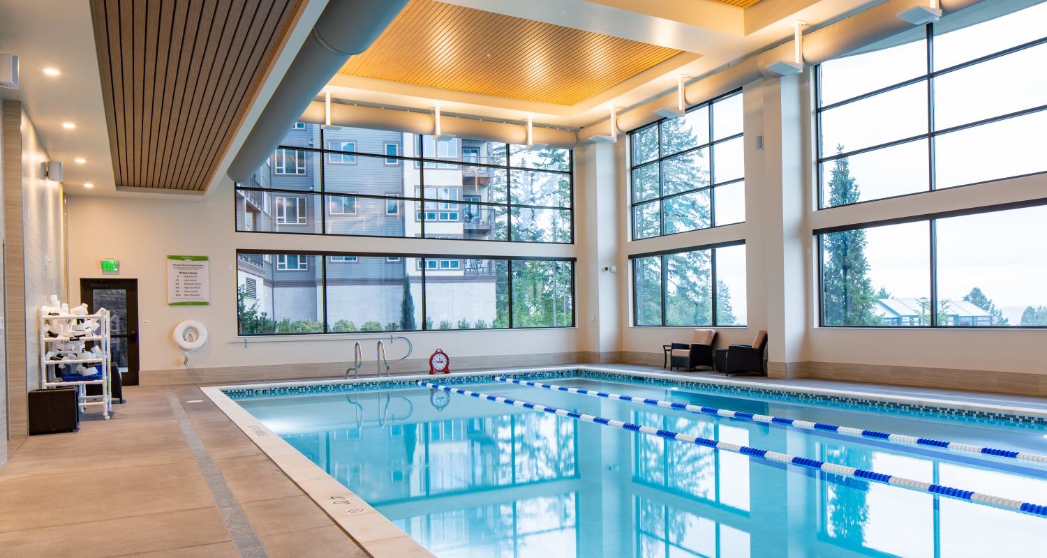 The community pool at Touchmark in the West Hills Health & Fitness Club in Portland, Oregon