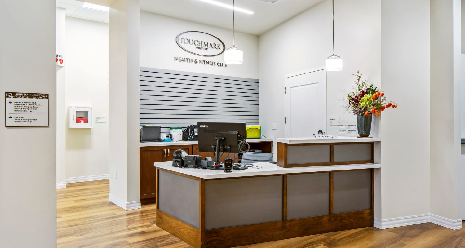 The reception desk at Touchmark in the West Hills Health & Fitness Club in Portland, Oregon