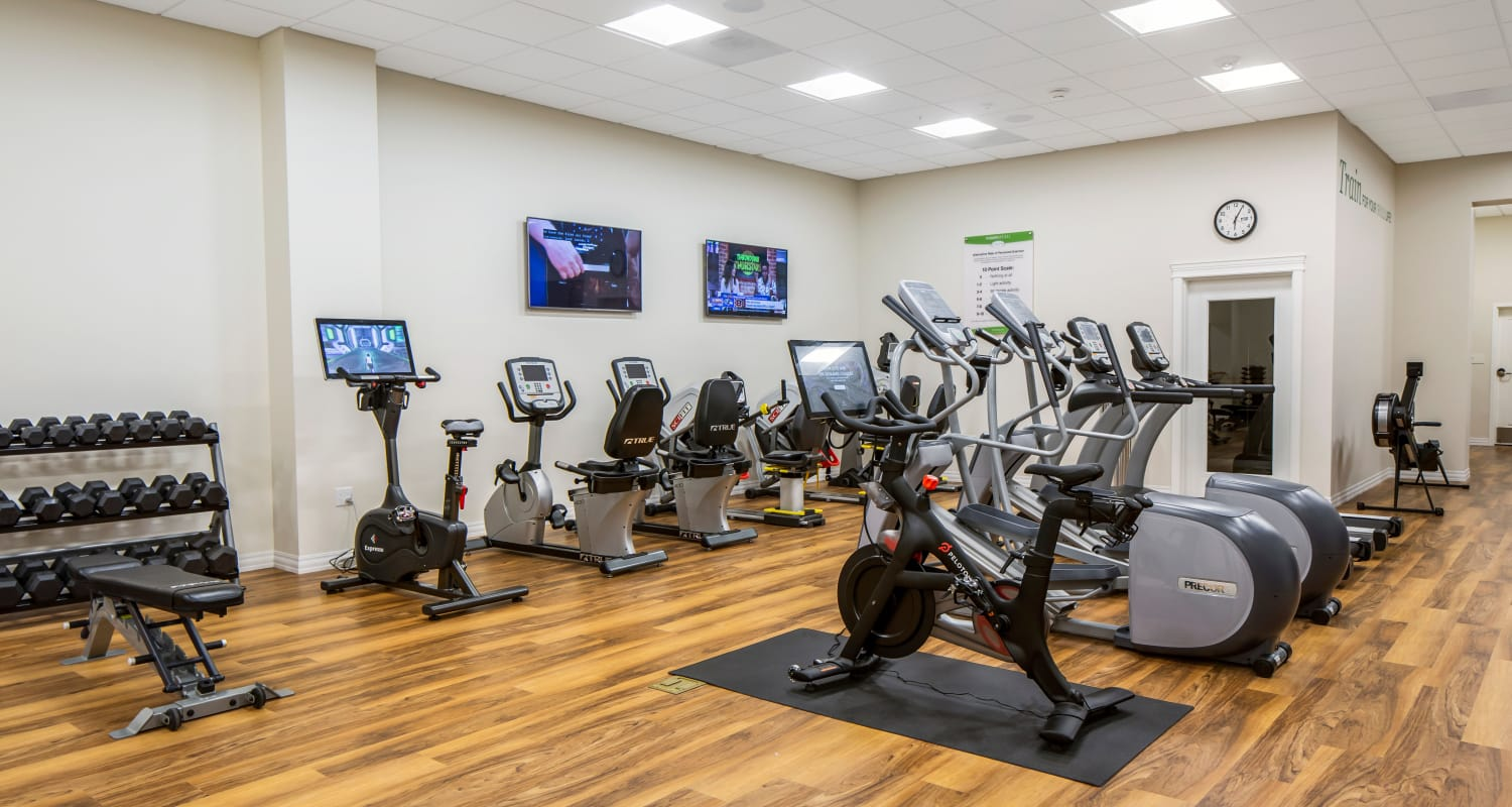 Fitness room at Touchmark in the West Hills Health & Fitness Club in Portland, Oregon