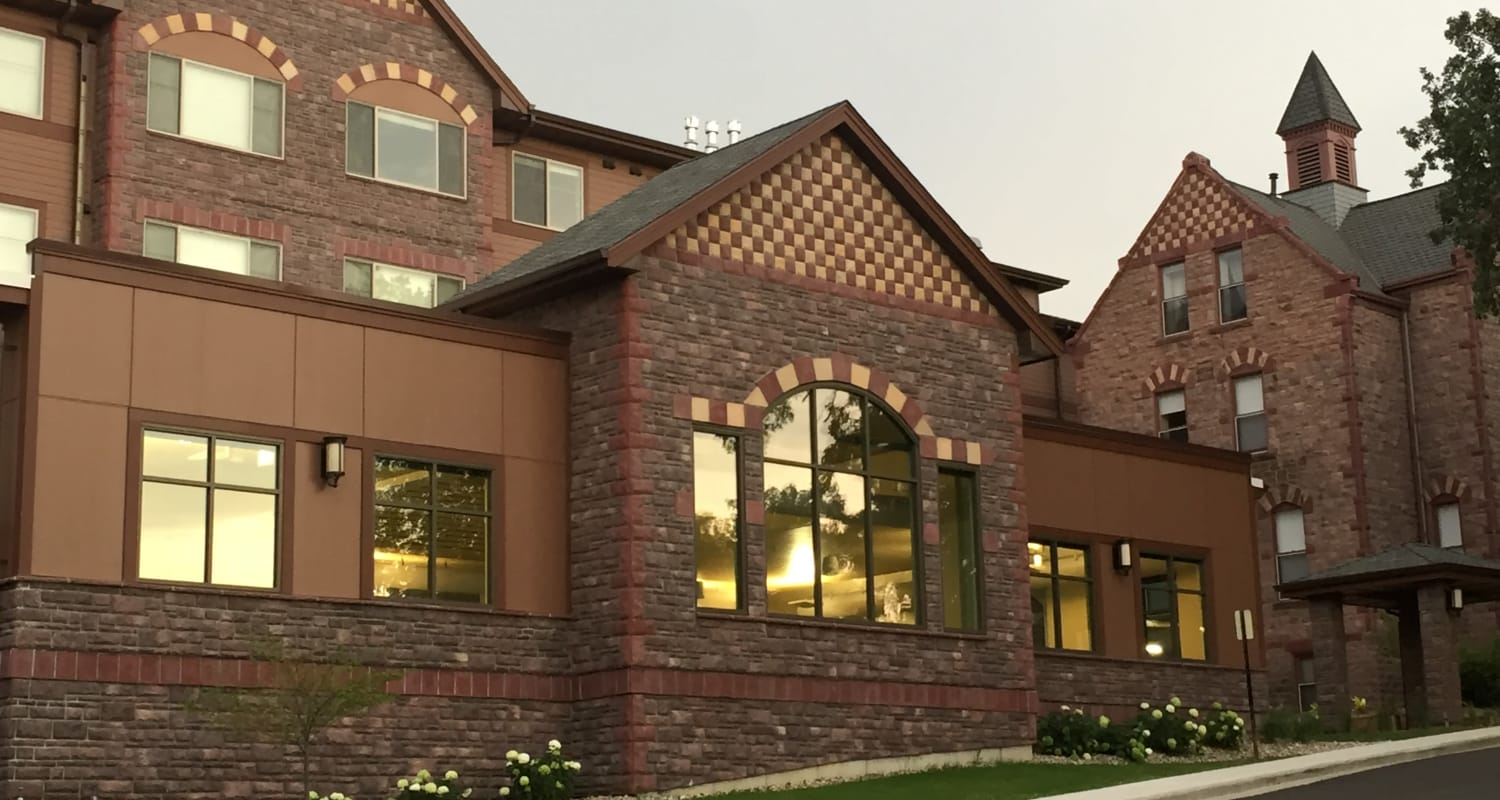 Building facade at Touchmark at All Saints Health & Fitness Club in Sioux Falls, South Dakota