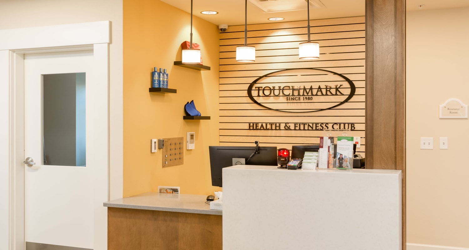 The reception desk at Touchmark at All Saints Health & Fitness Club in Sioux Falls, South Dakota