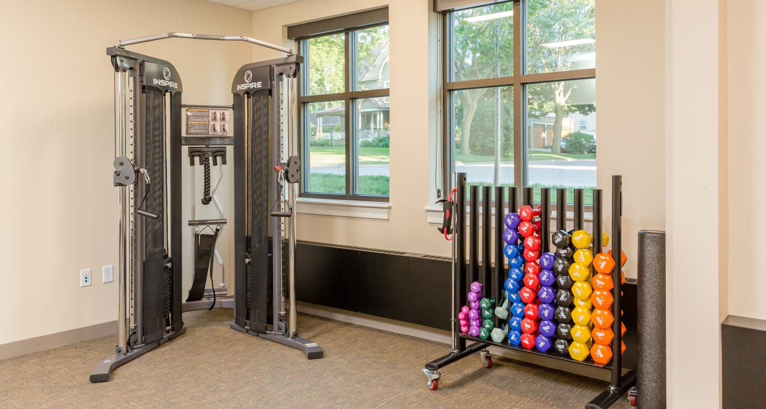 Weights for residents at Touchmark at All Saints Health & Fitness Club in Sioux Falls, South Dakota