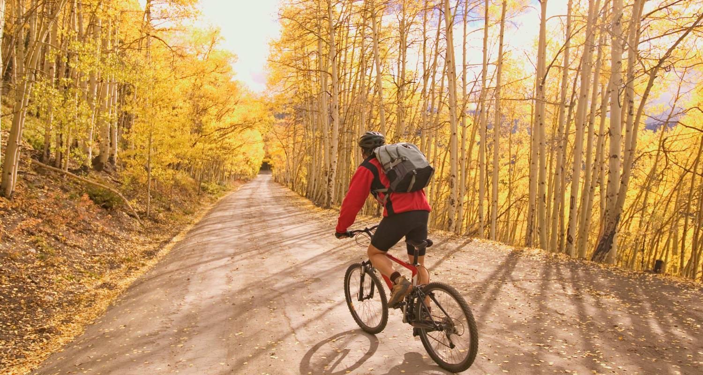 Resident exploring Colorado Springs, Colorado near FalconView on his bike