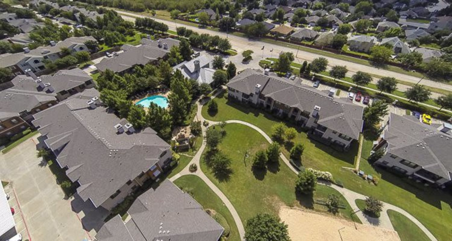 Aerial view of property and walkways at Ranch ThreeOFive in Arlington, Texas