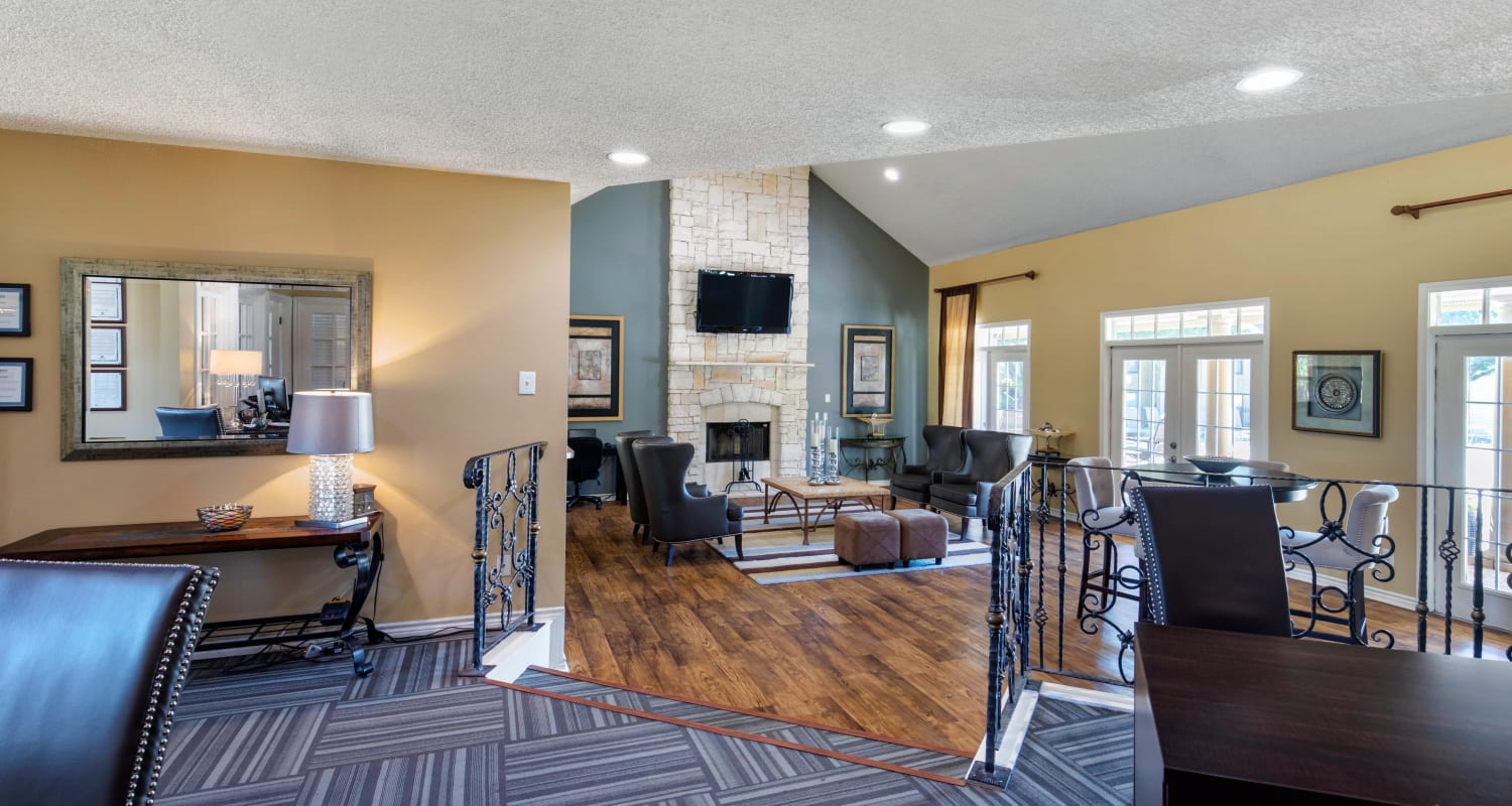 Spacious resident clubhouse for entertaining guests at The Logan in Bedford, Texas