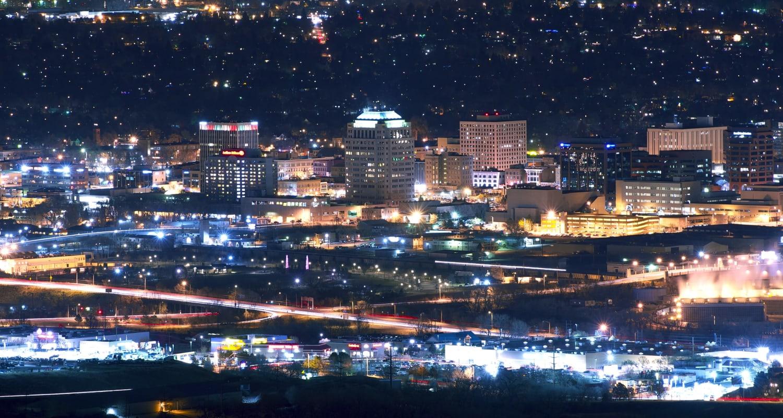View of Colorado Springs, Colorado near FalconView at night