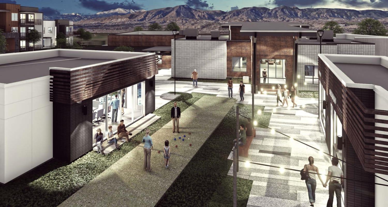 Rendering of the outdoor recreation area at FalconView in Colorado Springs, Colorado