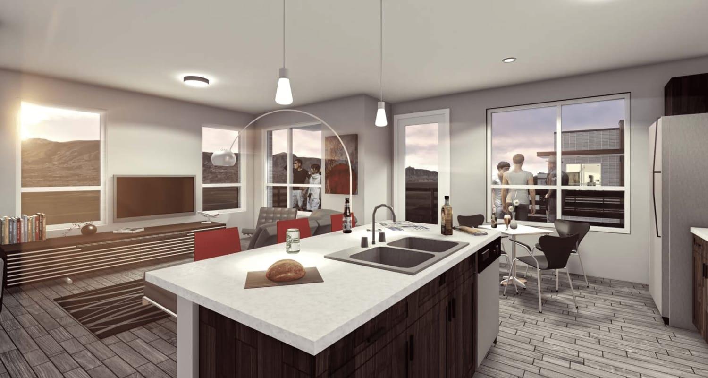 Rendering of a model apartment at FalconView in Colorado Springs, Colorado