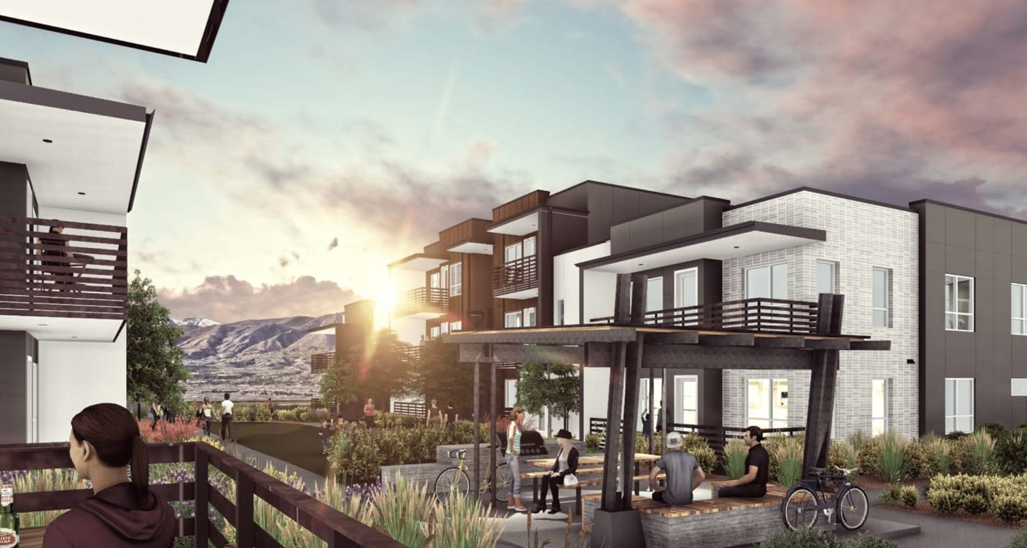 Rendering of residents hanging out at FalconView in Colorado Springs, Colorado