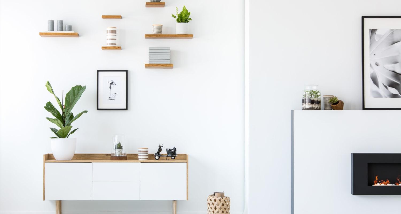 Minimalist living room at FalconView in Colorado Springs, Colorado