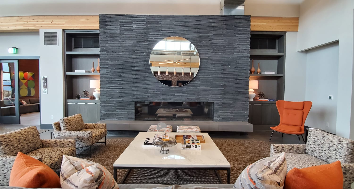Lobby with fireplace at FalconView in Colorado Springs, Colorado