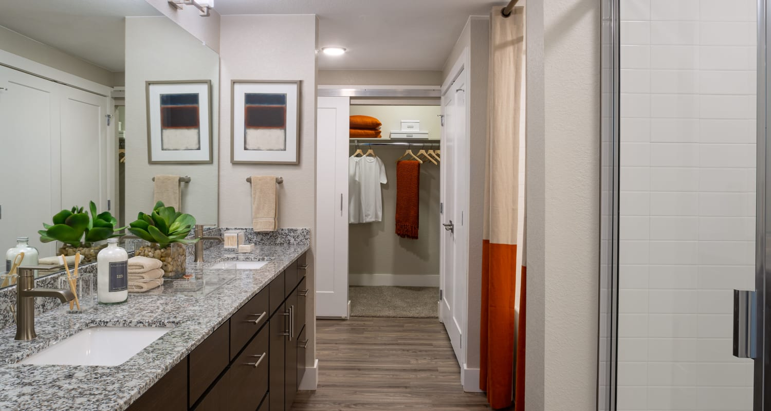 Spacious bathroom and walk in closet at FalconView