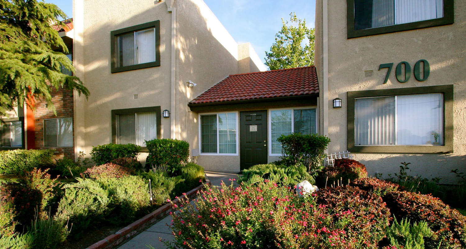 Exteriors of the apartment building at Parkwood in Lancaster, California