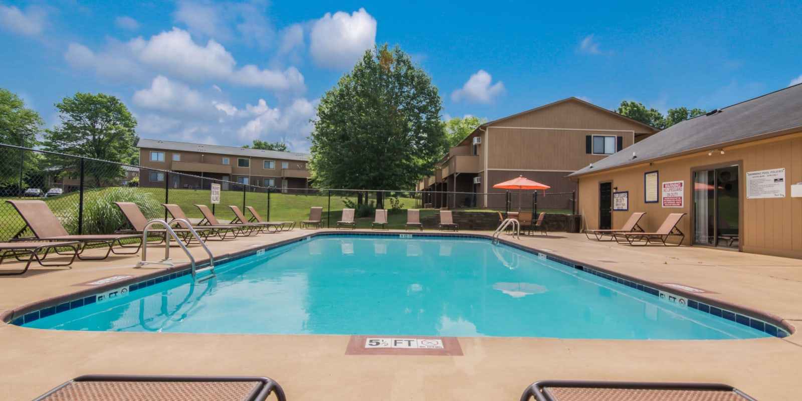 Large swimming with a sundeck at 1022 West Apartment Homes in Gaffney, South Carolina