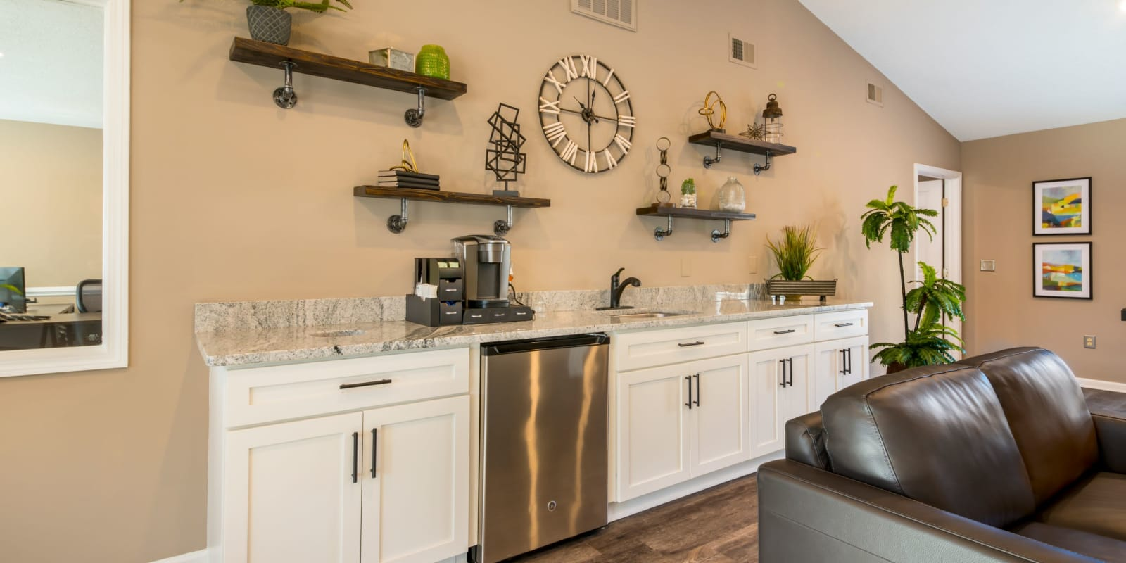 A clubhouse kitchen for resident use at Alexander Station Apartment Homes in Salisbury, North Carolina
