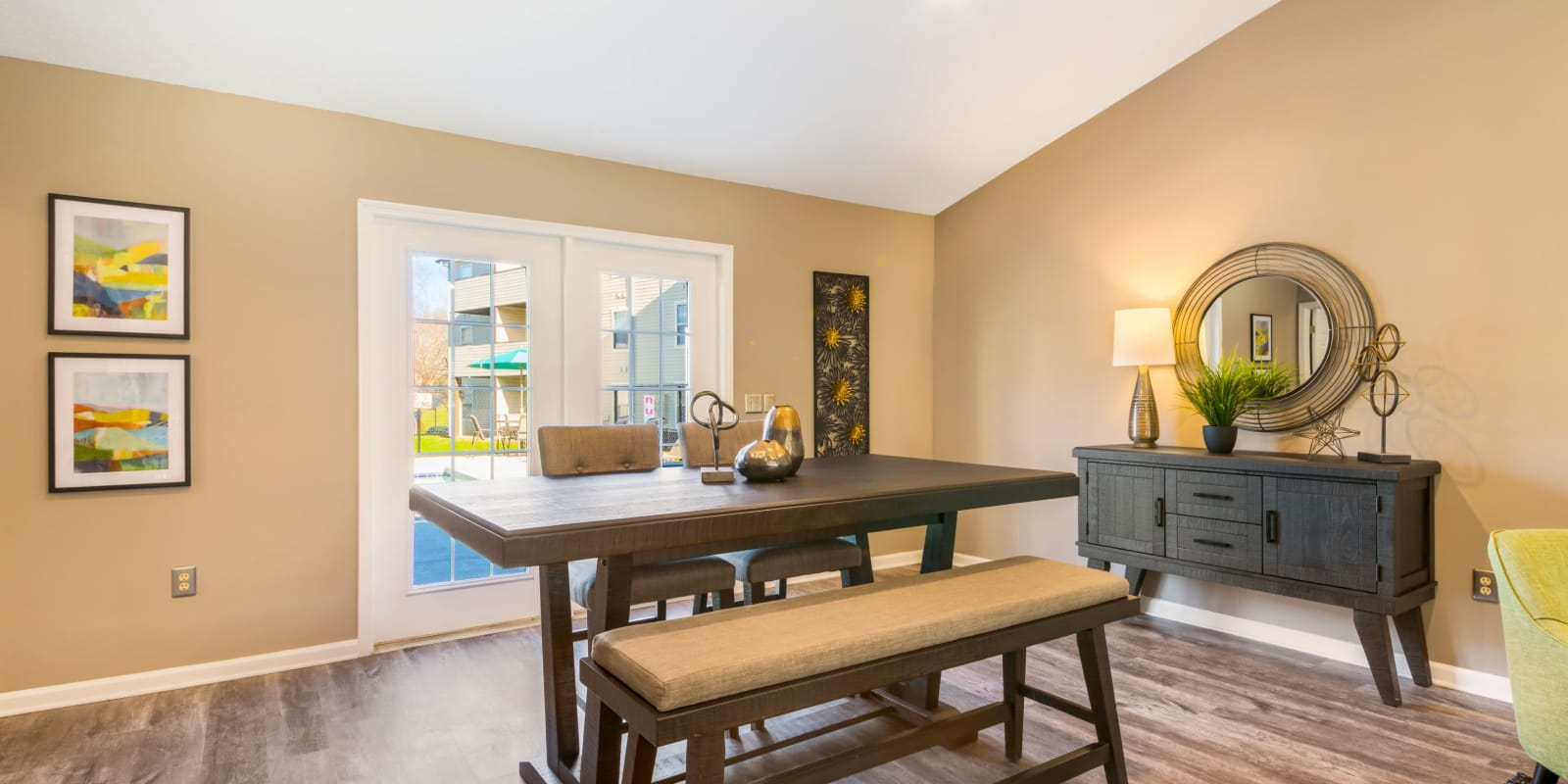 Clubhouse table for group dinners at Alexander Station Apartment Homes in Salisbury, North Carolina