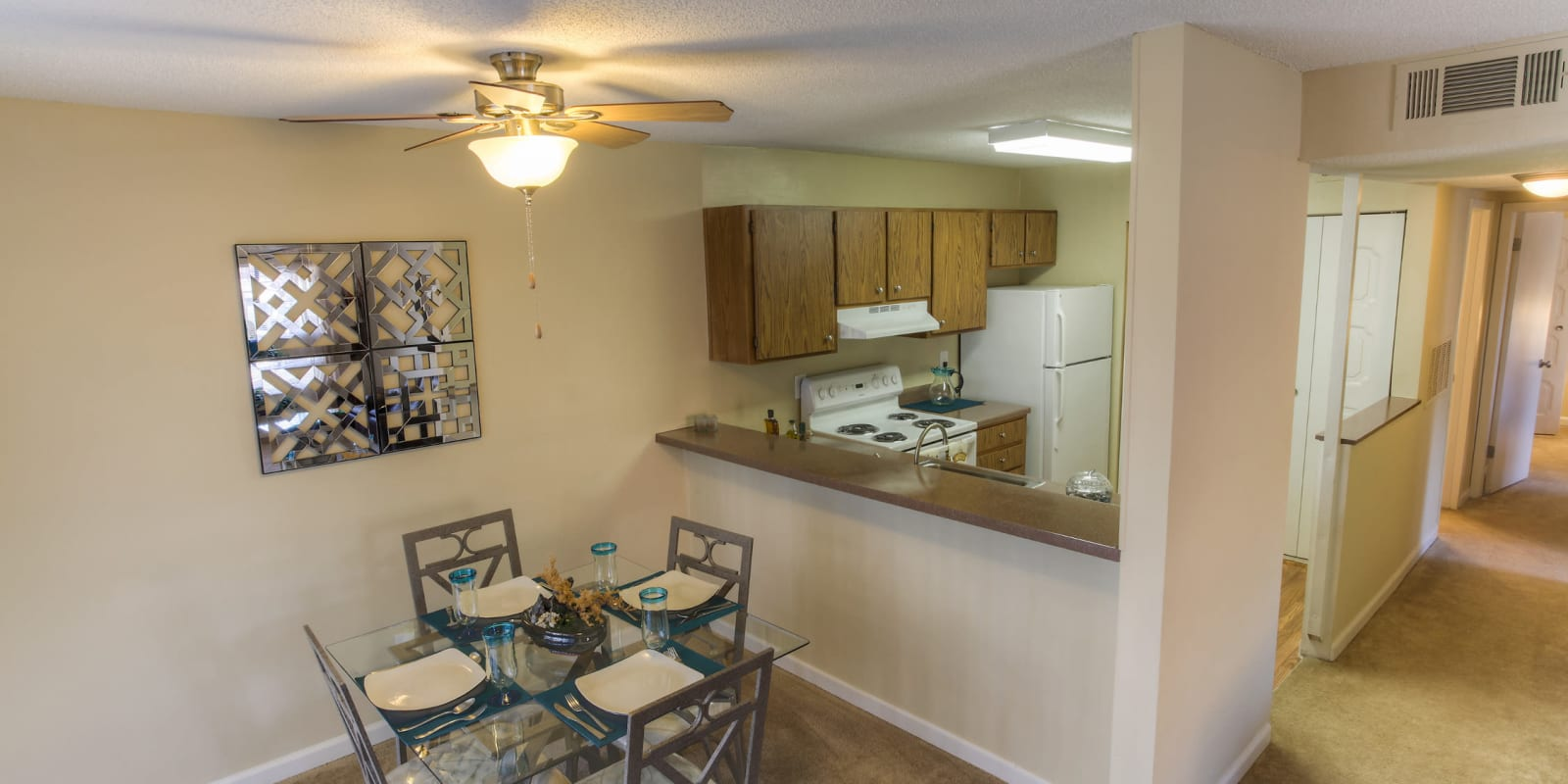 Aerial view of the kitchen at Enclave at North Point Apartment Homes in Winston Salem, North Carolina